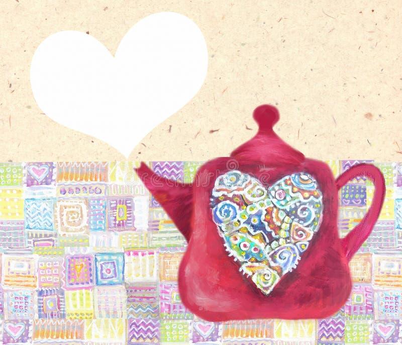 Kökförälskelse Gullig tekanna med mångfärgad hjärta för abstrack royaltyfri illustrationer