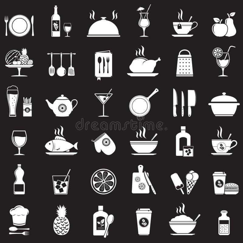 Kökhjälpmedel, mat och drinksymboler ställde in royaltyfri illustrationer