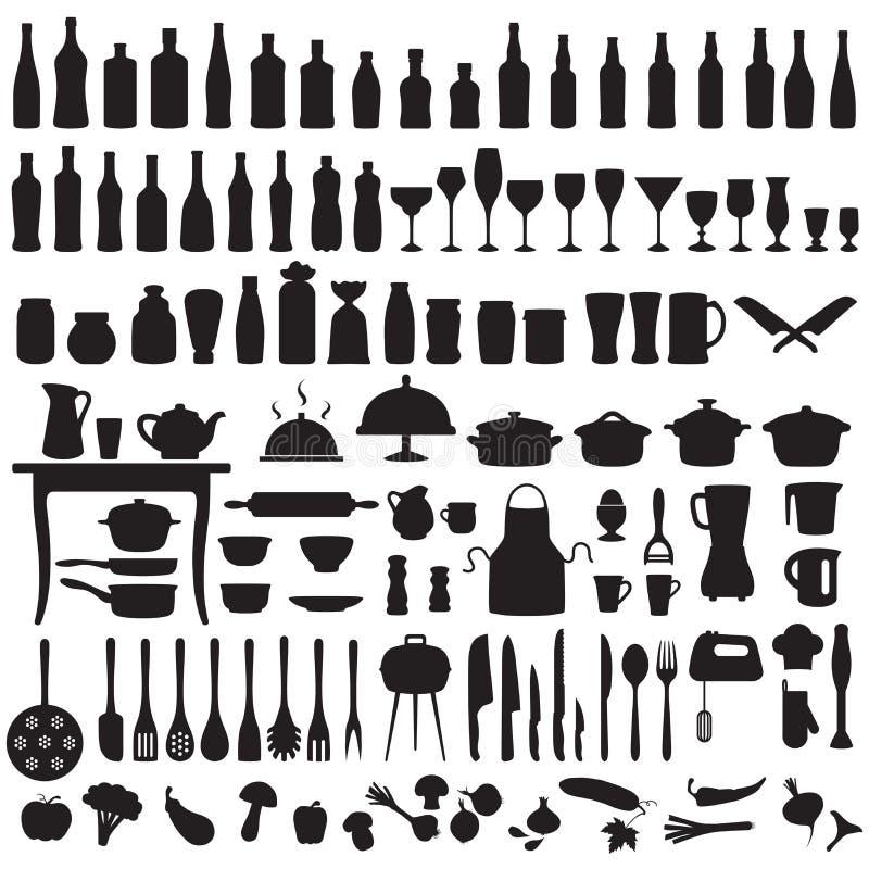 Kökhjälpmedel som lagar mat symboler vektor illustrationer