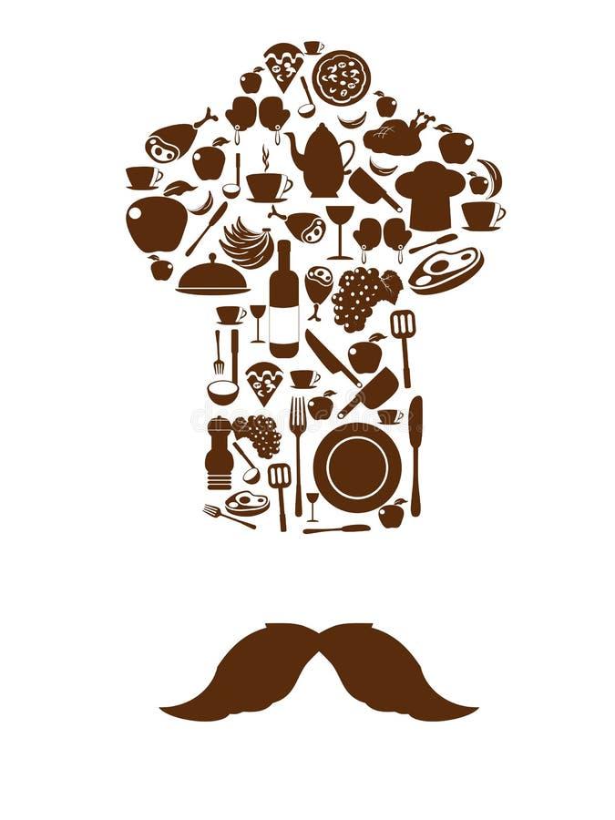 Kökhjälpmedelsymboler på kockhatten med mustaschen stock illustrationer