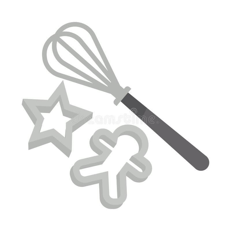 Kökhjälpmedeluppsättning för läcker julpepparkakamatlagning stock illustrationer