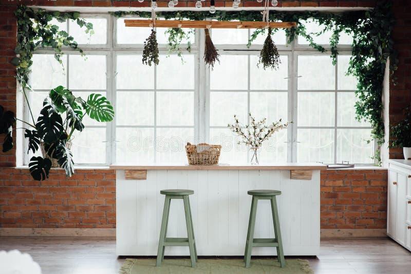 Kökinre med ön, vasken, kabinetter och ädelträgolv arkivfoton