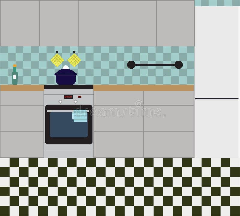 Kökinre med möblemang Plan vektorillustration stock illustrationer