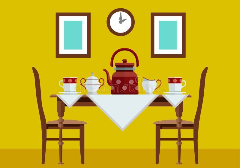 Kökköksbord med och teservis royaltyfri illustrationer