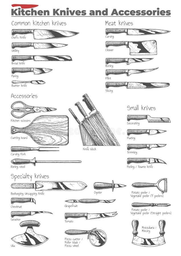 Kökknivar och tillbehör royaltyfri illustrationer