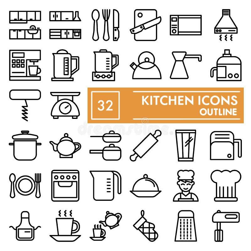 Köklinjen symbolsuppsättningen som lagar mat symboler samling, vektorn skissar, logoillustrationer, linjära pictograms för redska stock illustrationer