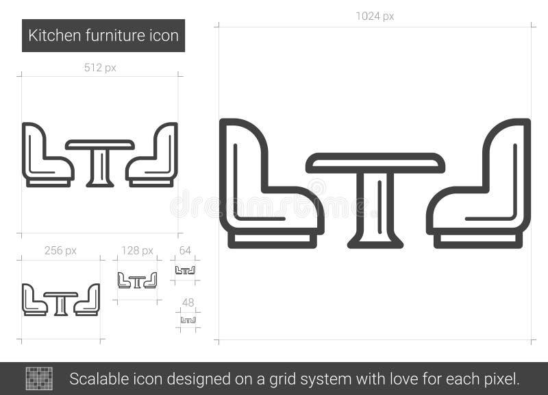 Kökmöblemanglinje symbol vektor illustrationer