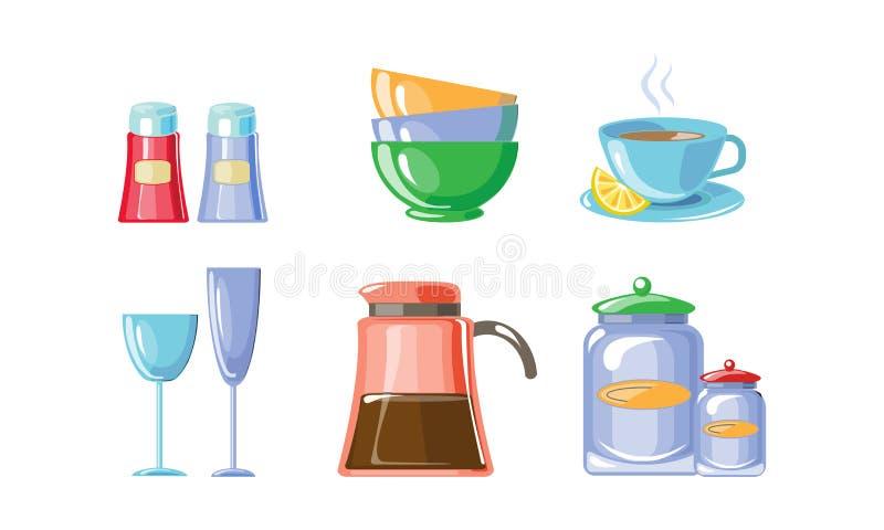 Kökredskapuppsättning, kitchenware, illustration för vektor för kökhushållutrustning på en vit bakgrund vektor illustrationer
