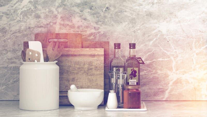 Köksgeråd för gourmet- matlagning royaltyfri illustrationer
