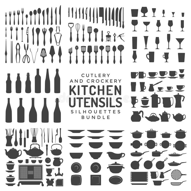 Köksgerådkonturpacke stock illustrationer