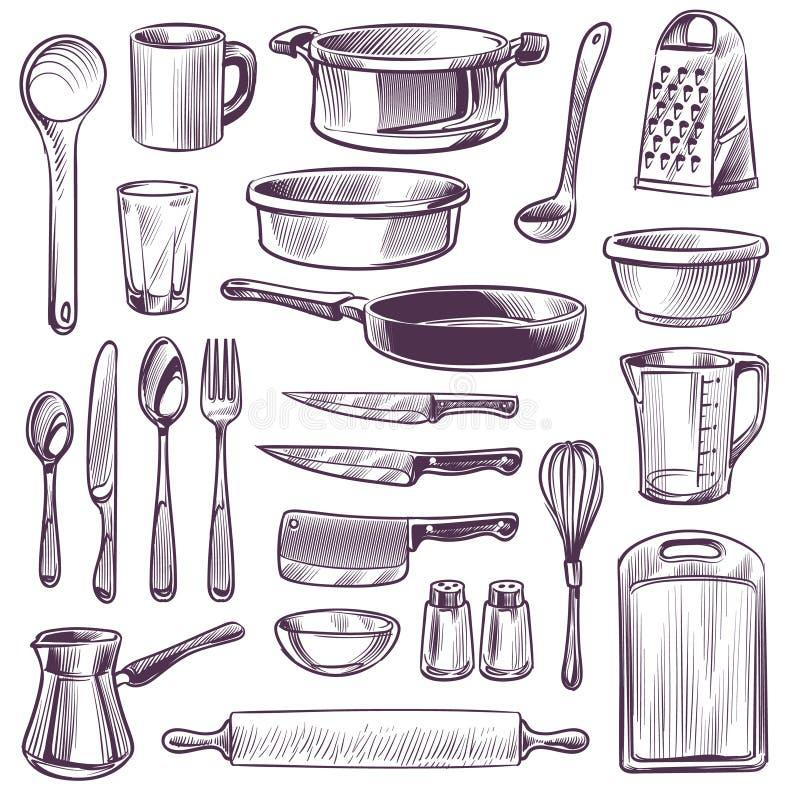 Köksredskap Verktyg för skalkokning Pan, kniv och gaffel, sked och grater, kopp och glas, draghandsritning vektor illustrationer