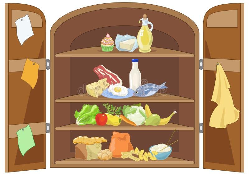 Köksskåp stock illustrationer