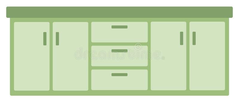 Köksskåp med enheter stock illustrationer