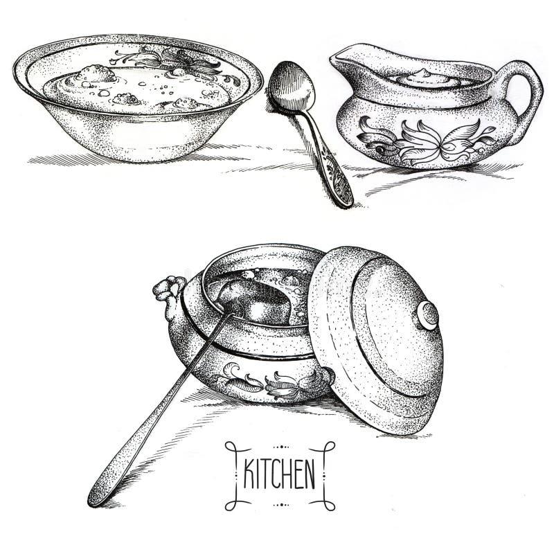 Köktillbehör och plattor med disk stock illustrationer