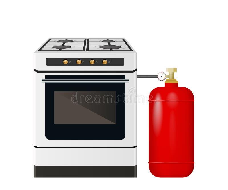 Kökugn med en röd gascylinder royaltyfri illustrationer