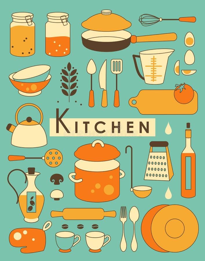 Kökuppsättning stock illustrationer