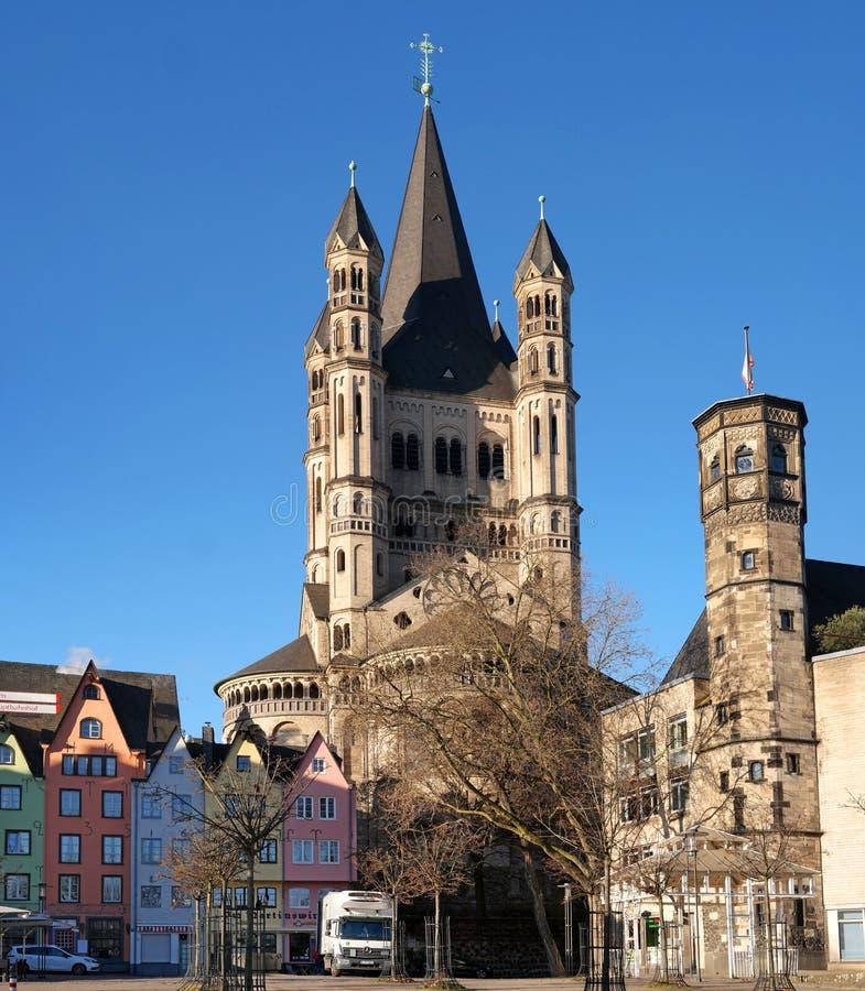 Köln, Deutschland - 19. Januar 2017: Kirche von grobem St Martin lizenzfreie stockfotografie