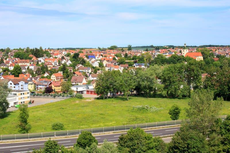 Köngen with B313. View on Koengen with Bundesstrasse in front stock image
