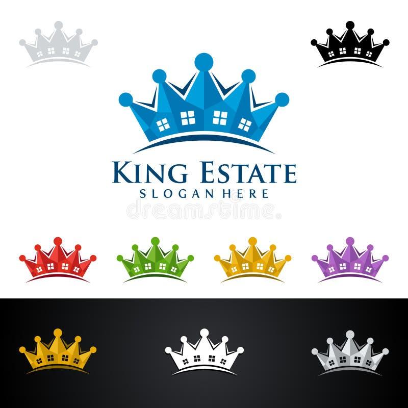 König Estate, Real Estate vector Logodesign mit dem Haus und Ökologieform, lokalisiert auf weißem Hintergrund stock abbildung