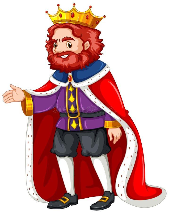 König im purpurroten Kostüm und in der roten Robe stock abbildung