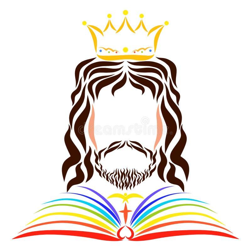 König Jesus in einem Regenmantel in Form eines Regenbogenbuches lizenzfreie abbildung