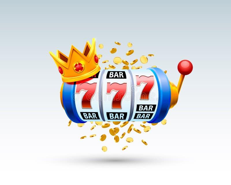 König kerbt das Kasino mit 777 Fahnen stock abbildung