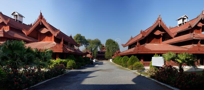 König Palace in Mandalay-Panorama, Myanmar (Birma) lizenzfreies stockbild