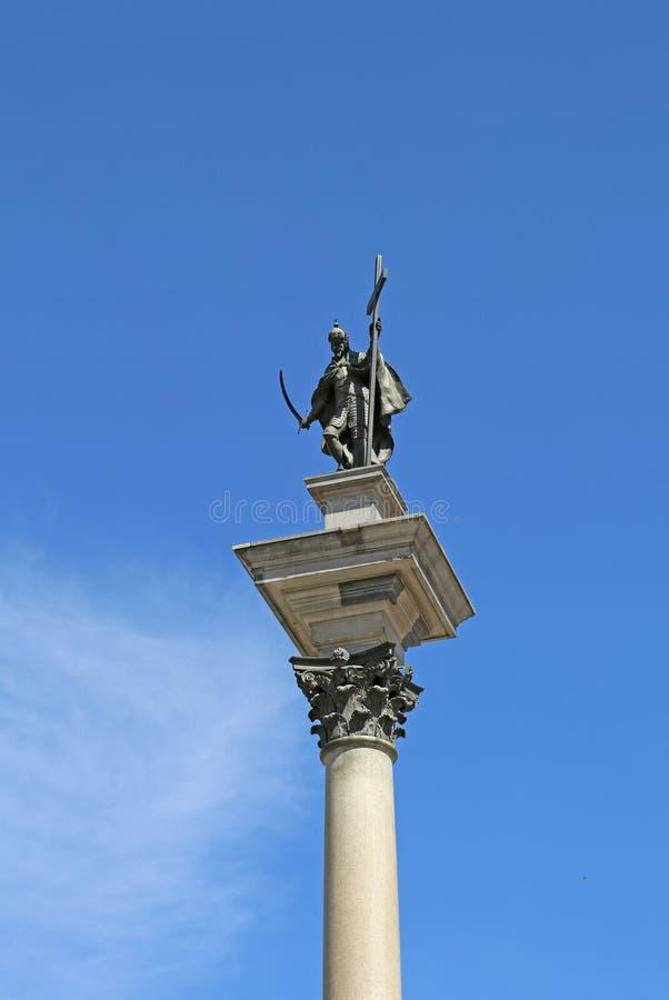 König Sigismund III Vasastatue auf die korinthische Säule an der alten Stadt lizenzfreie stockfotos