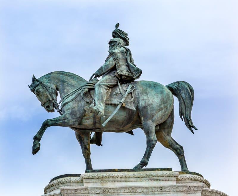 König Statue Victor Emanuele Monument Rome Italy stockbilder
