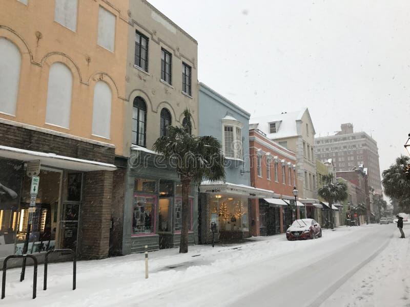 König Street, Charleston, Sc Schneesturm 2018 lizenzfreie stockfotos