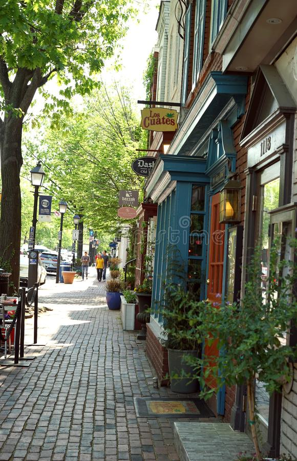 König Street in historischem Alexandria, Virginia lizenzfreie stockfotografie