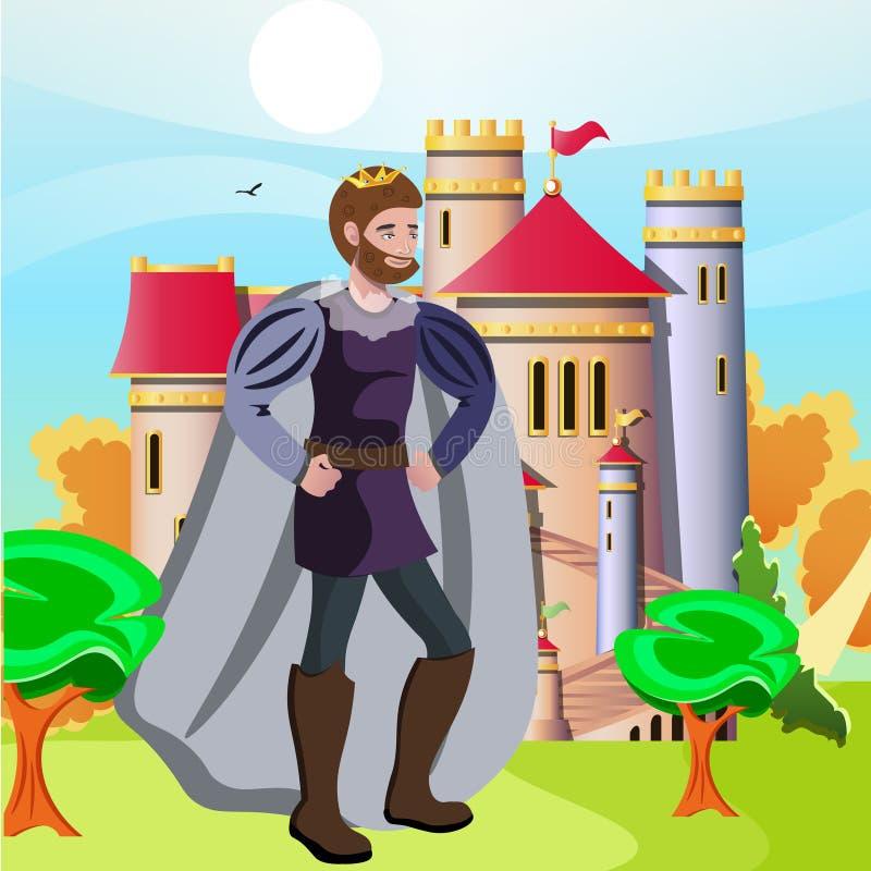 König vor seinem Schloss stock abbildung