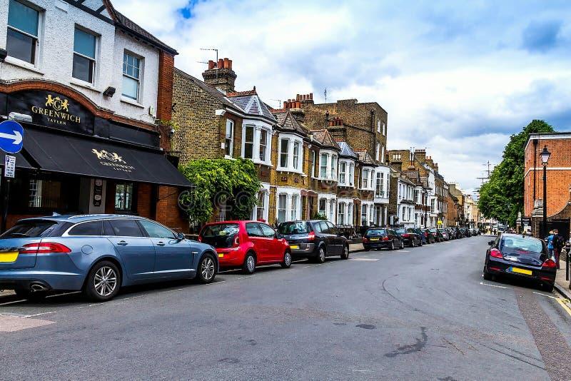 König William Walk mit Gasthaus berühmter Greenwich-Taverne in Greenwich, London, Großbritannien stockbild