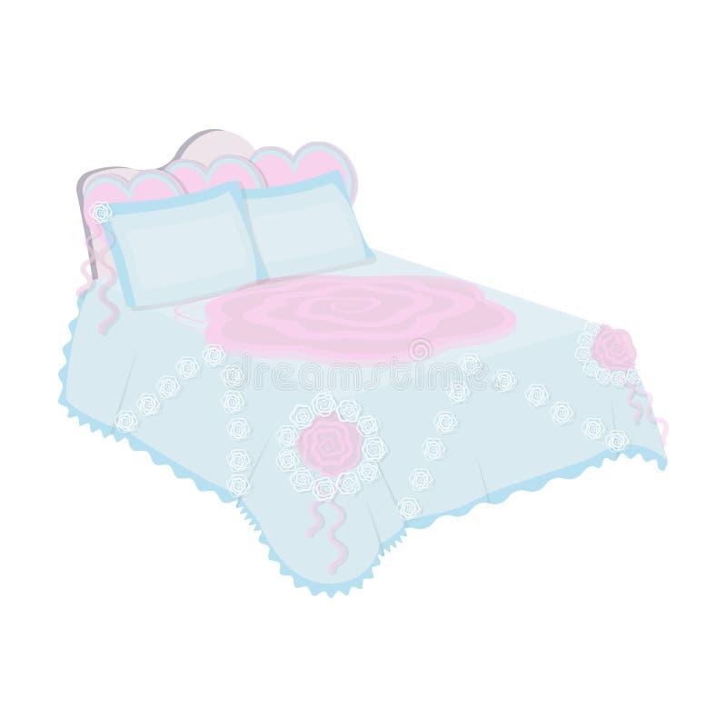 Königbett mit weißer Decke Königinbett mit rosa Kissen Betten Sie einzelne Ikone Karikaturartvektorsymbolauf lager vektor abbildung