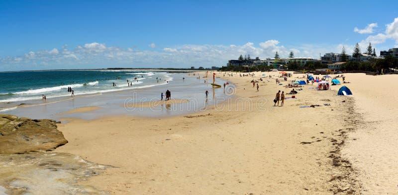 Könige setzen in Caloundra, Queensland, Australien auf den Strand stockbilder