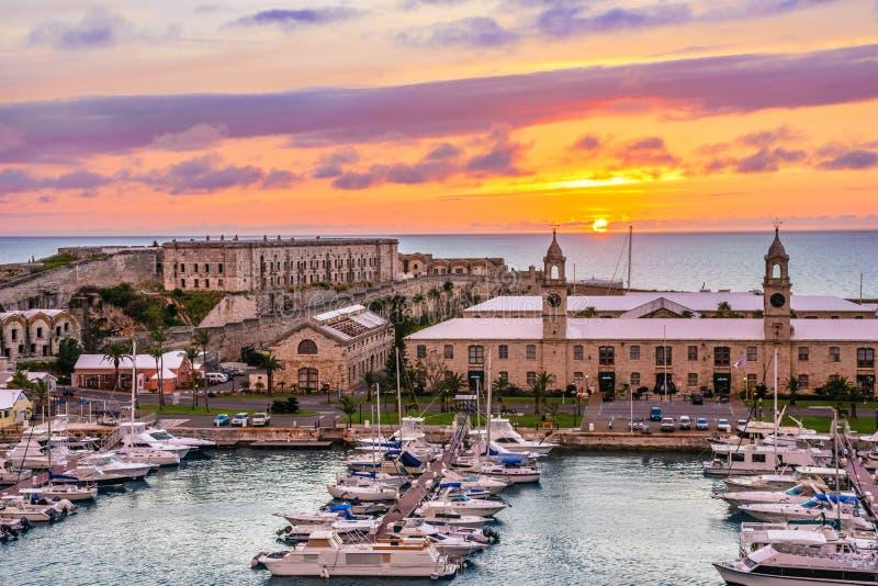 Könige Wharf Sunset lizenzfreie stockfotos