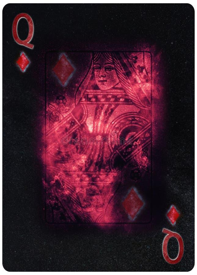 Königin des Zusammenfassungs-Hintergrundes Spielkarte der Diamanten stockbild