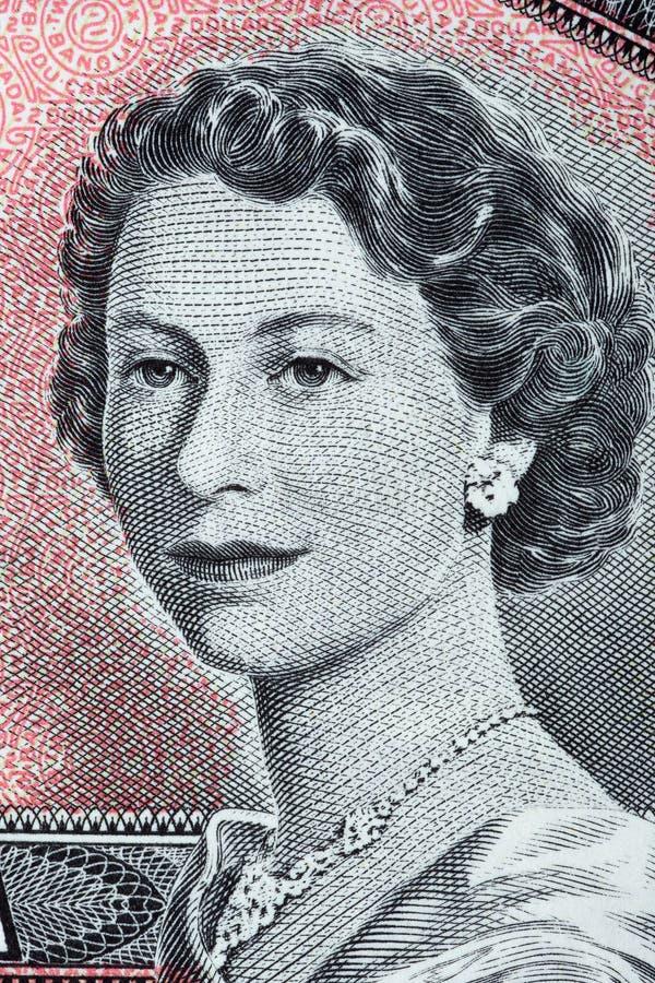 Königin Elizabeth II ein Porträt von den alten kanadischen Dollar stockbild