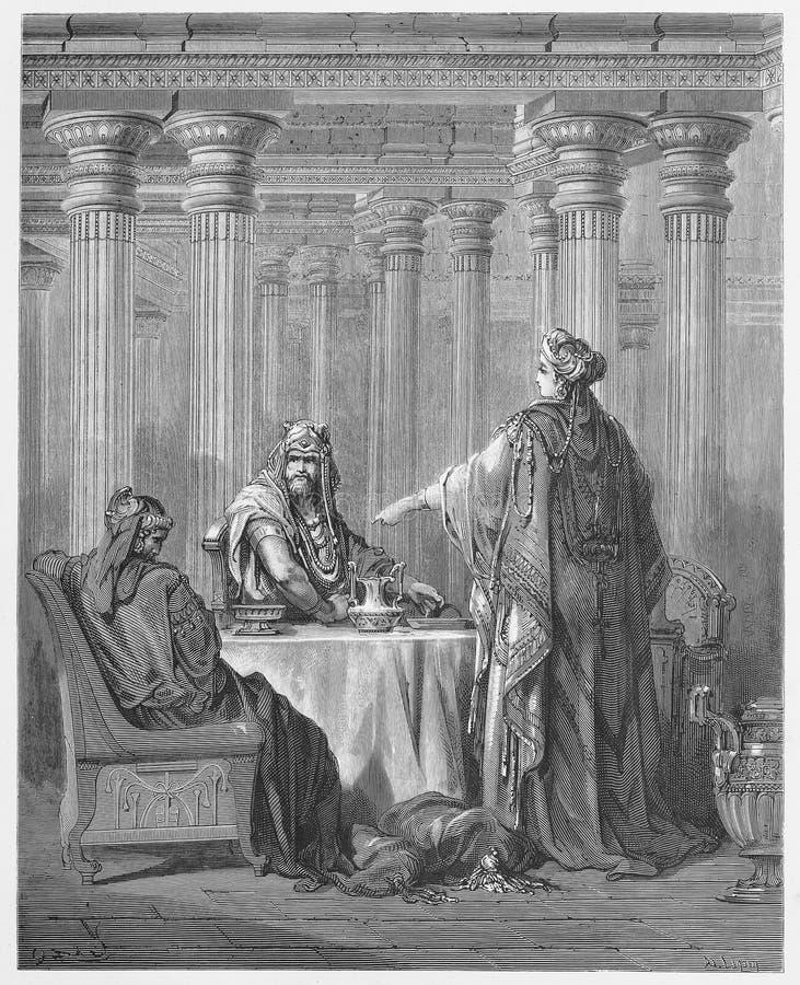 Königin Esther in den Königen Court vektor abbildung