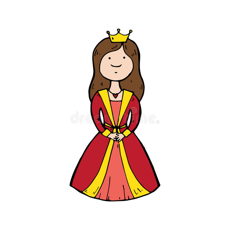 Königin mit einer Krone in der Karikaturart vektor abbildung