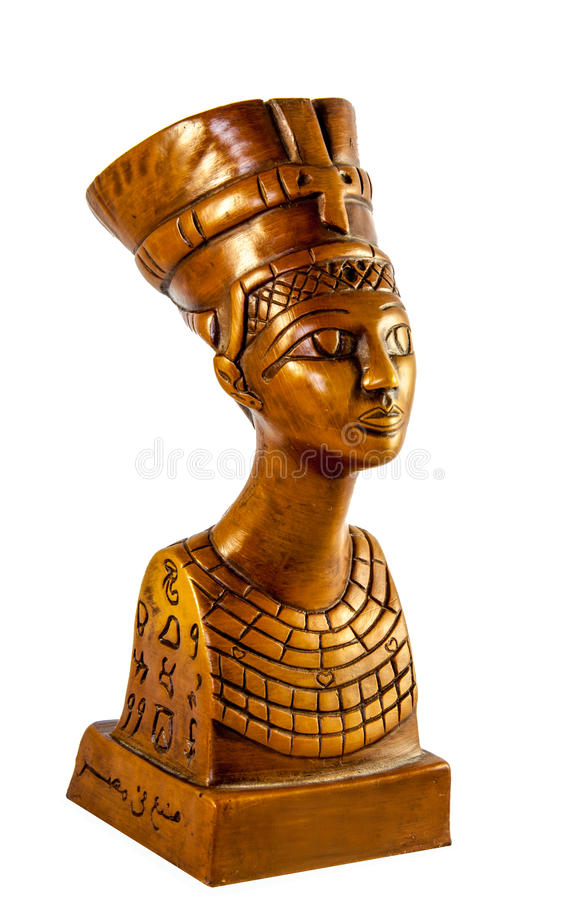 Königin Nefertiti auf Weiß stockbilder