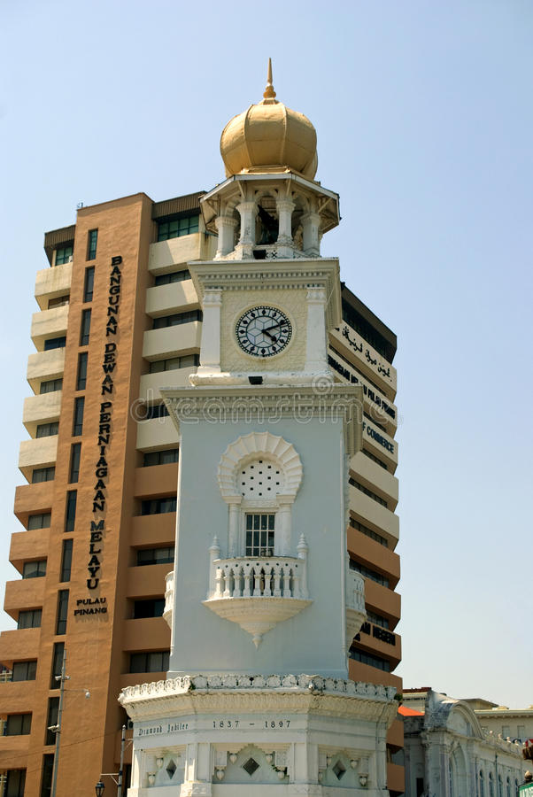 Königin Victoria Memorial Clock Tower, Georgetown, Penang, Malaysi lizenzfreies stockfoto