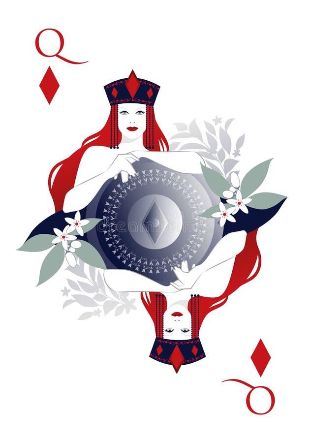 Königin von Diamanten mit einer Krone, die ein Schild mit dem Diamantsymbol in der Mitte und durch Blumen umgeben hält lizenzfreie abbildung