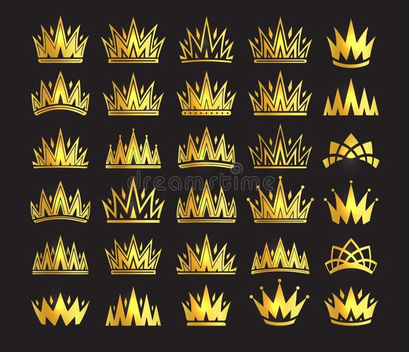 Königinkrone, königlicher Goldkopfschmuck Goldener Zusatz Königs Lokalisierte gesetzte Illustrationen des Vektors Ausleseklassens lizenzfreie abbildung