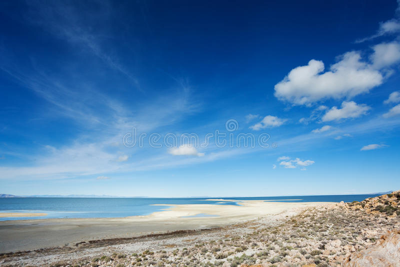 Königliche Ansicht von Great Salt Lake auf Antilopen-Insel stockfotografie