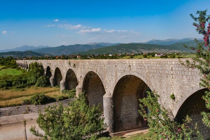 Königliche Brücke Carev höchst über dem Zeta in Montenegro lizenzfreie stockbilder