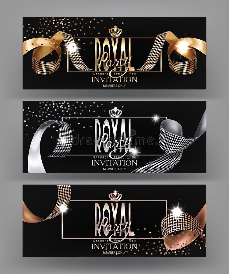 Königliche Designfahne mit gelockten Seidenbändern, Rahmen und Kronen lizenzfreie abbildung