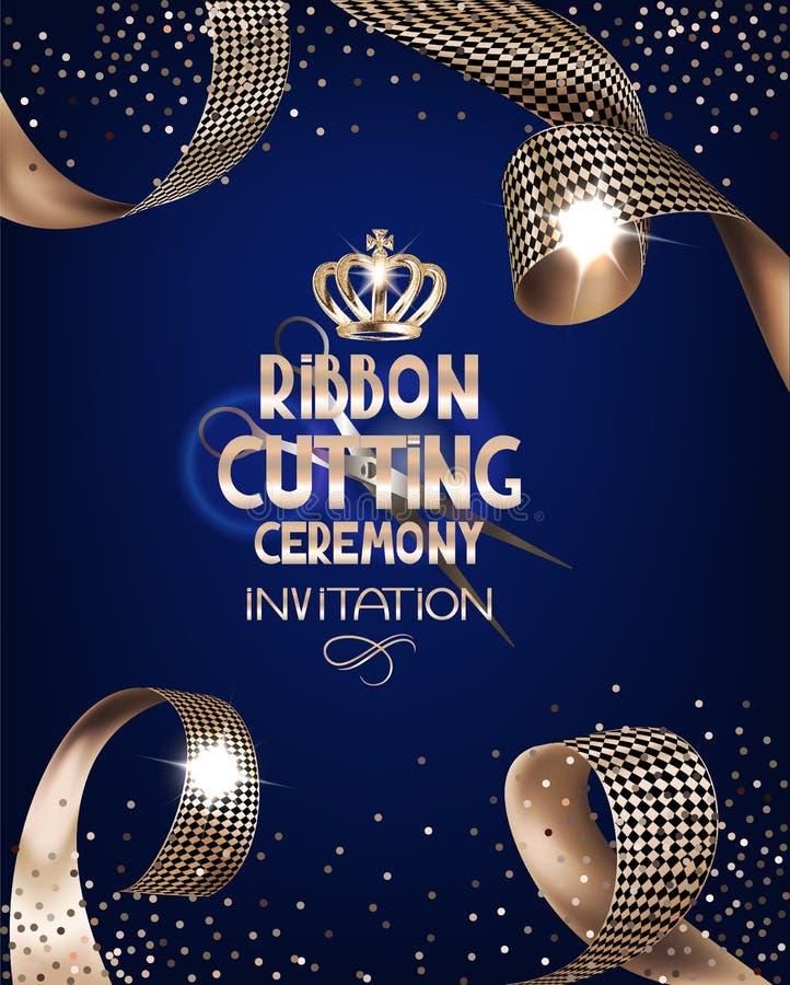 Königliche Designfahne mit Goldgelockten Seidenbändern und blauem Hintergrund Band-Ausschnitt-Zeremonie stock abbildung