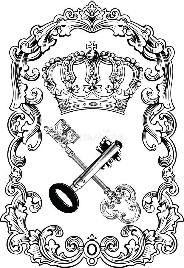 Königliche Feld-Krone und Tasten. vektor abbildung