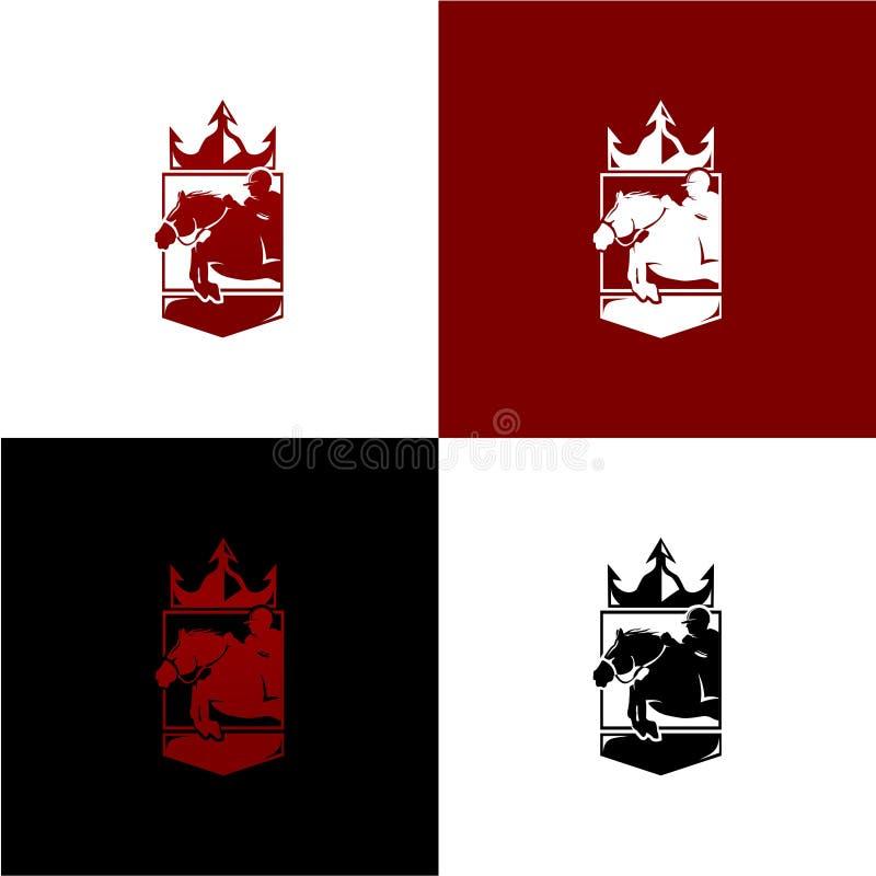 Königliche Pferderennenillustration mit Vektordatei für Logoschablone stockfotos
